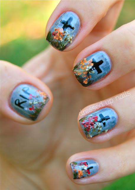 Gravestone Halloween nail art