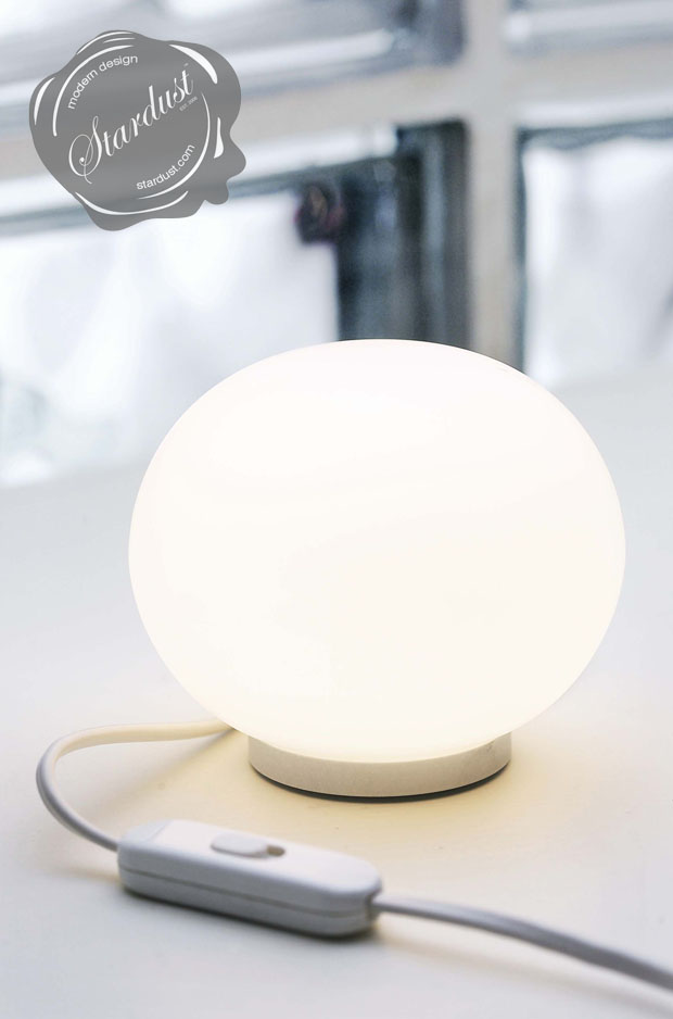 Modern Bulb Small Bedside Table Lamp In White Finish With Round Shape And  White Glass Murano Shade