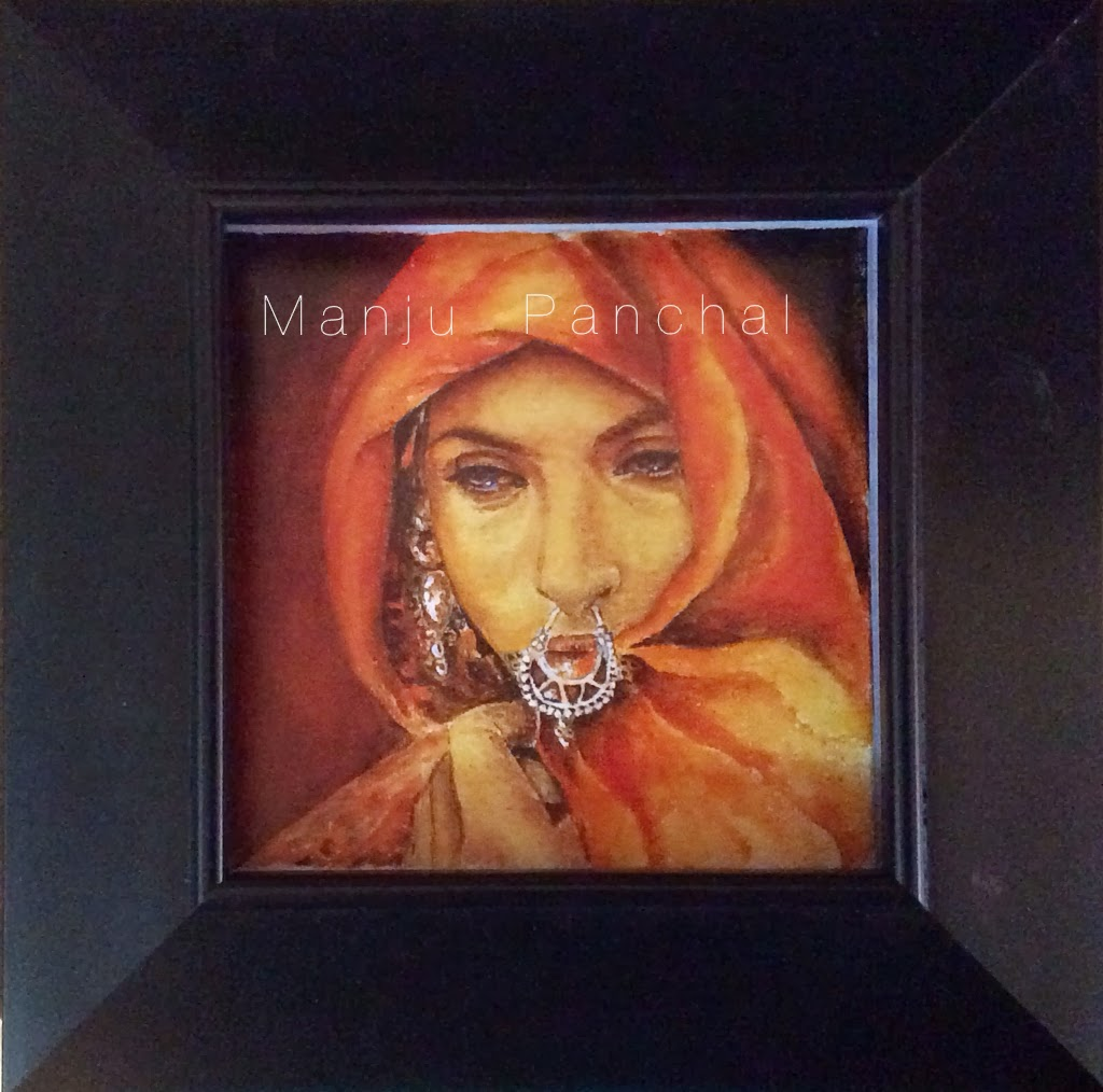acrylic painting of rajasthani woman by Manju Panchal