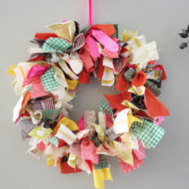 fabric multi-color rag wreath