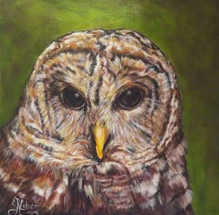 """Hoots and Hunter"", Barred Owl in oils"