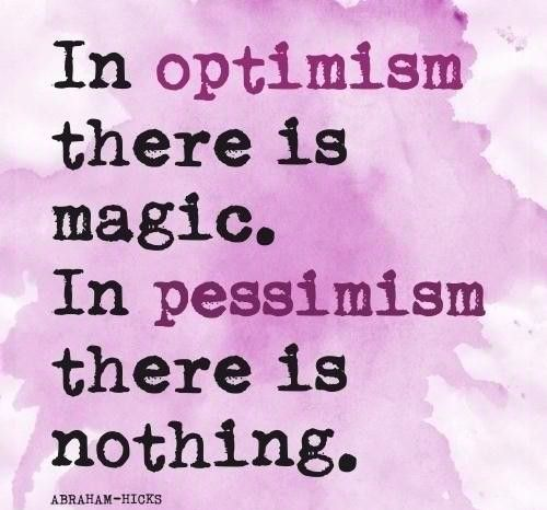 insightful Abraham Hicks quote about optimism and pessimism on Radiant Orchid card