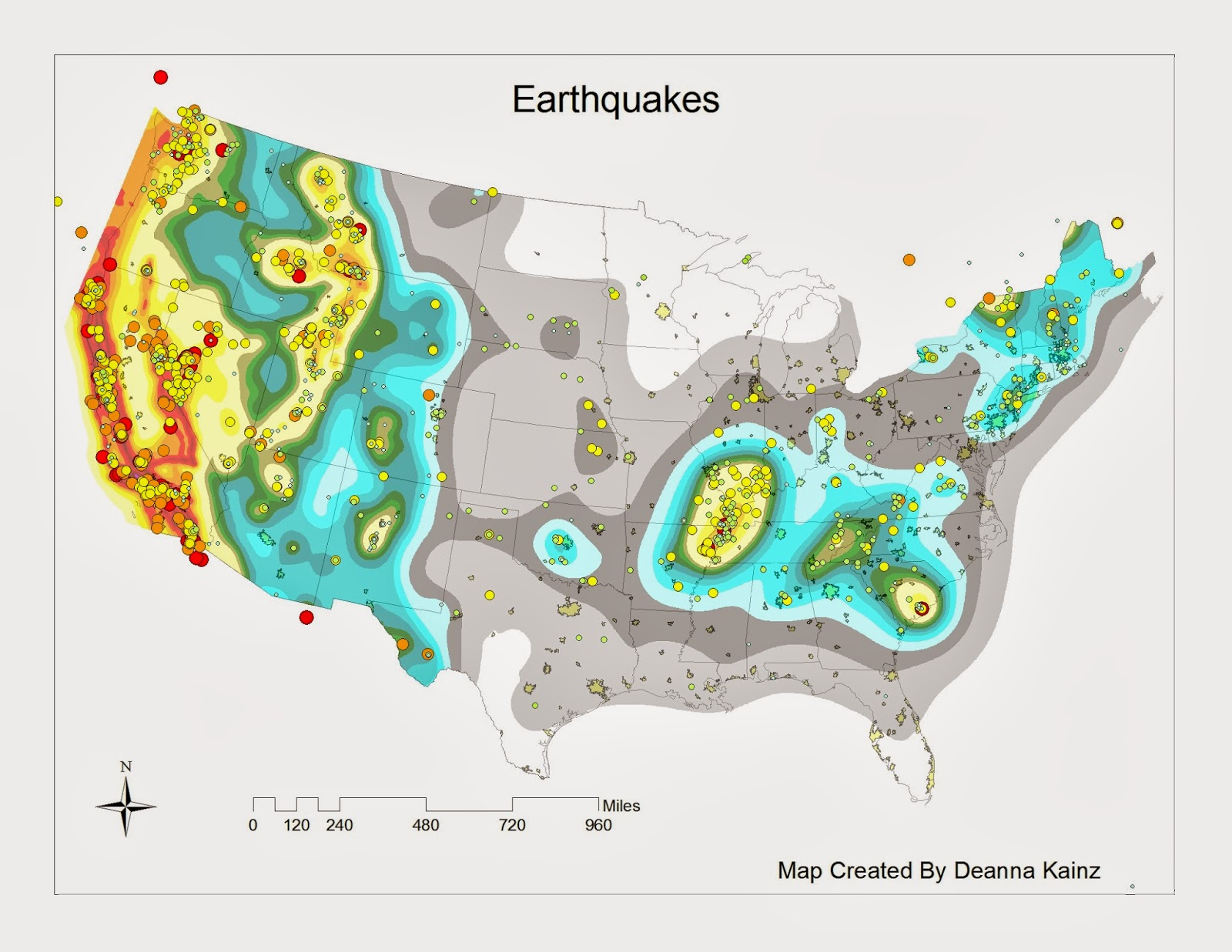 the map below has dots representing earthquakes by magnitude the map is also color coded by shaking in areas you can see how the two subjects correlate
