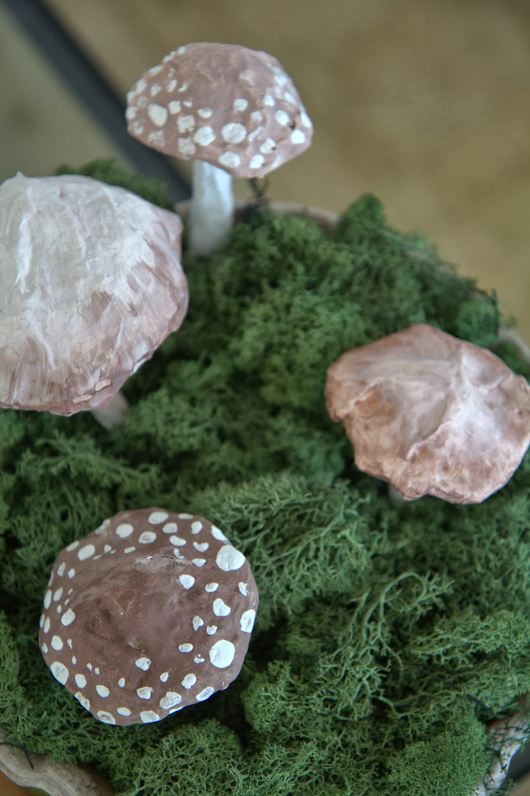 Paper Mache Mushrooms in Moss 5