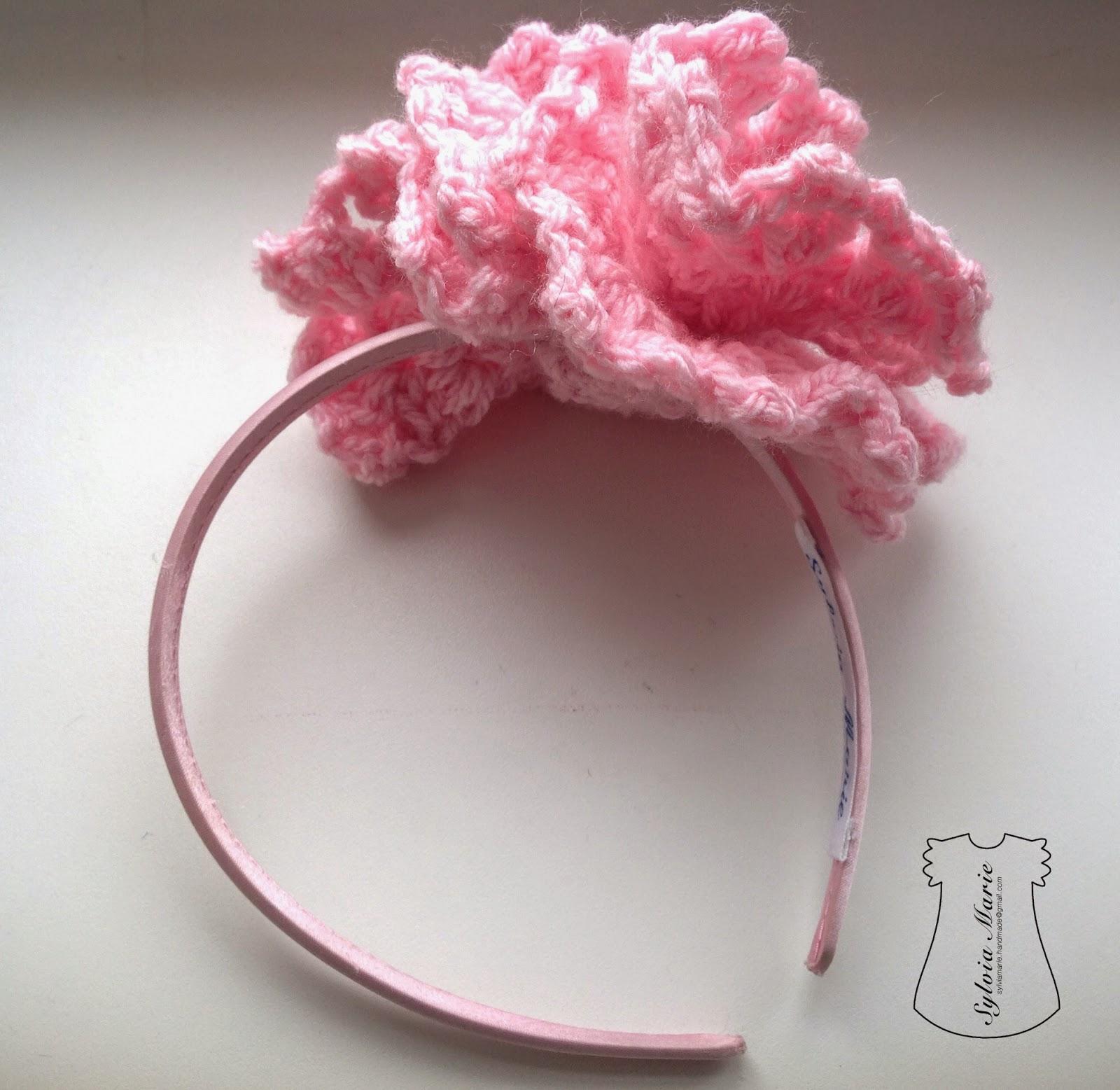 Diadema con flor rosa hecha a mano, Haarreif mit Blume handgemacht