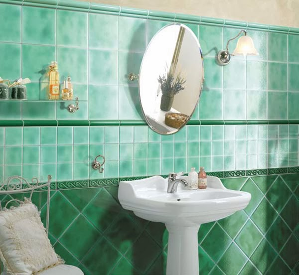 Accesorios Baño Verde:Decoración de baño con diferentes tonos verdes  Un diseño de baño