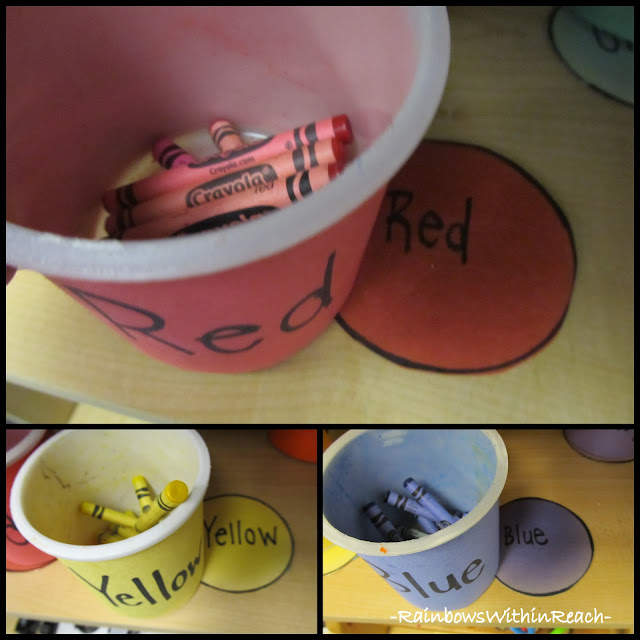 DIY Crayon Bins from recycled icing containers, wrapped in construction paper and labeled