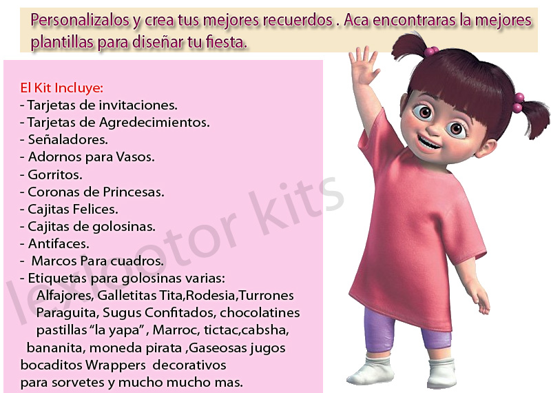 Kit Imprimible Invitaciones Monster Inc Boo Cotillon Golosin ...