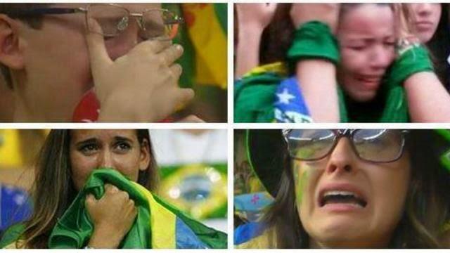 فتيات يبكون بعد هزيمة البرازيل امام المانيا بسباعية
