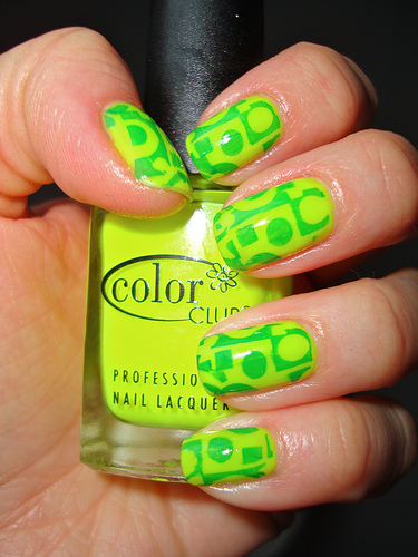 light green nail design with