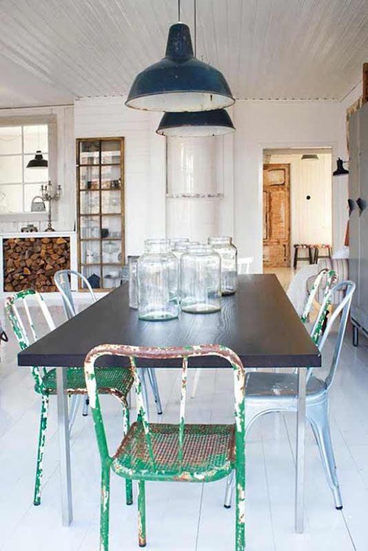light fixtures the blue green jars on the table so pretty. Black Bedroom Furniture Sets. Home Design Ideas