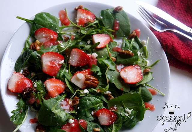 Never Dessert You Spinach & Arugula Strawberry Champagne Salad