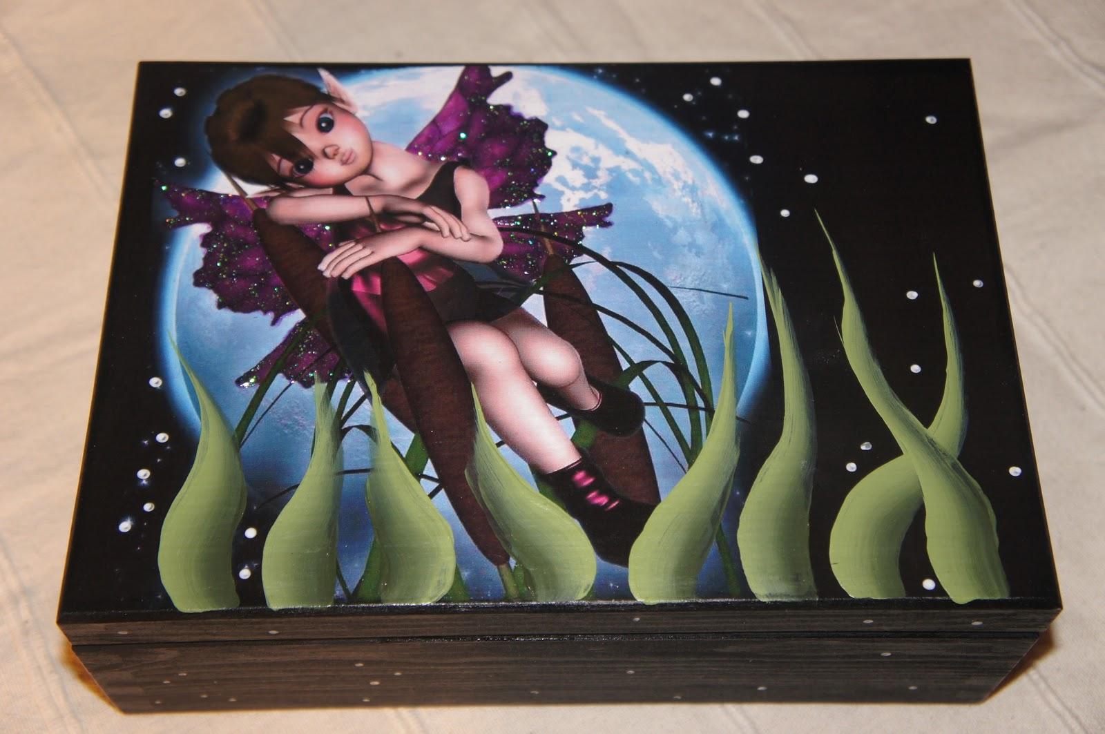 Artesania abona cajas de hadas aplicadas con fondos y - Baules pintados a mano ...