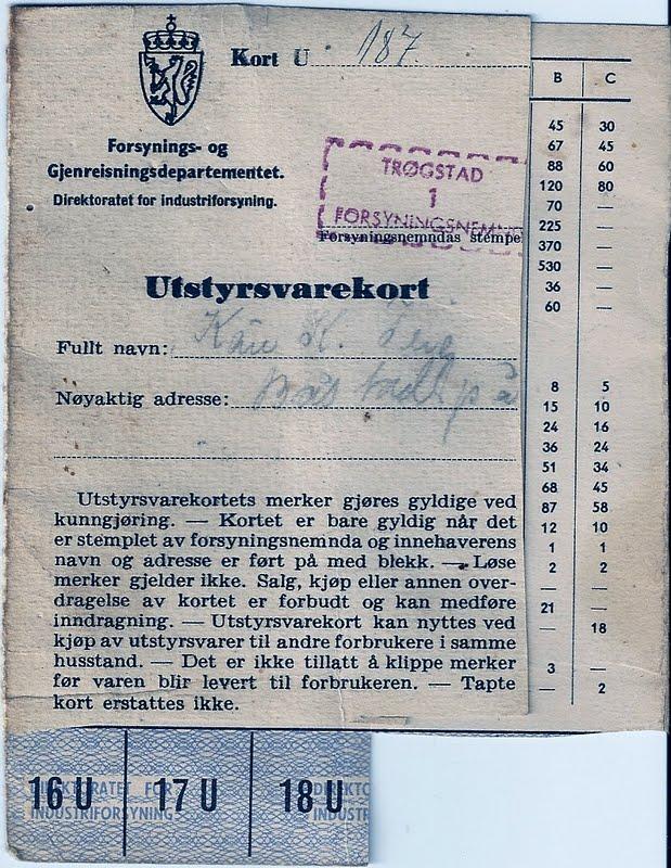rasjoneringskort etter krigen