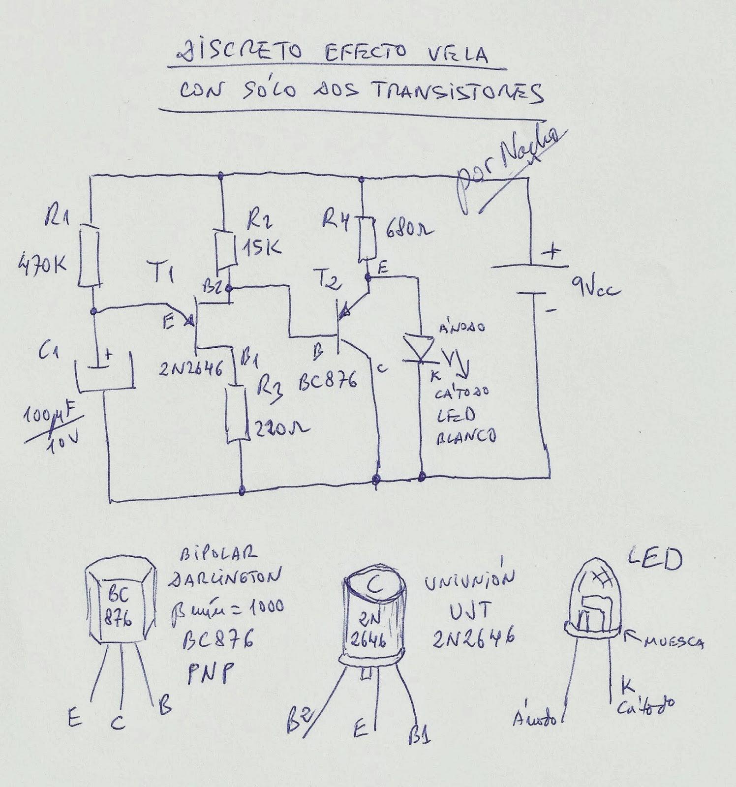 Circuito Discreto : Cotidiana place discreto efecto vela con sólo dos transistores