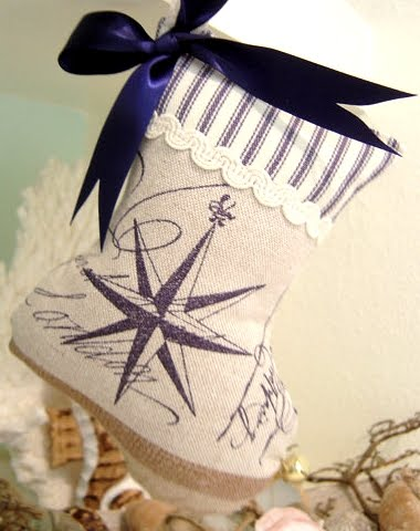 mini stuffed Christmas stockings with a nautical theme