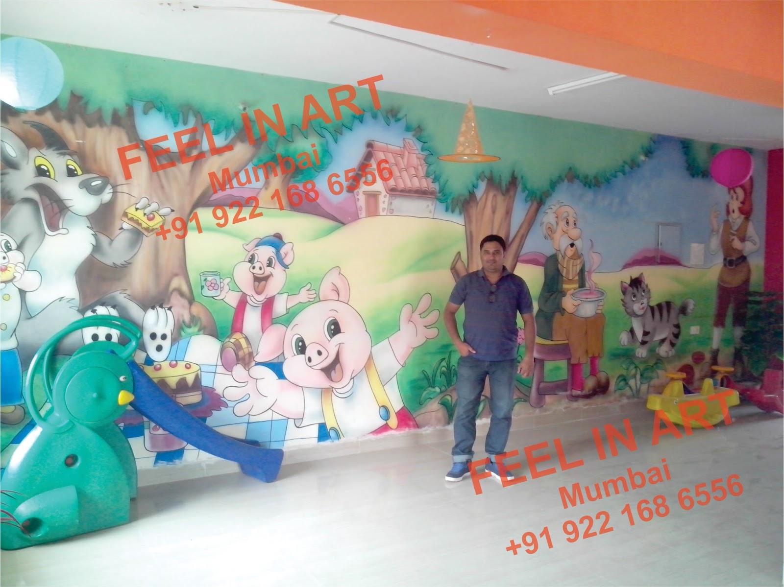 play school wall painting: play school classroom wall murals best