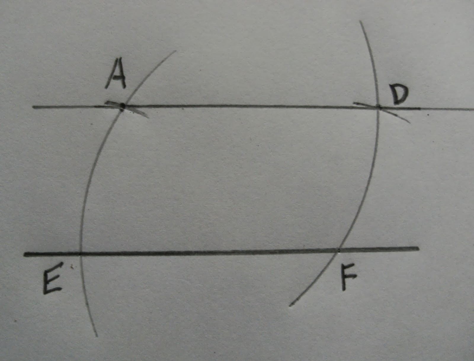 Drawing Parallel Lines With A Compass : To construct a line parallel given through