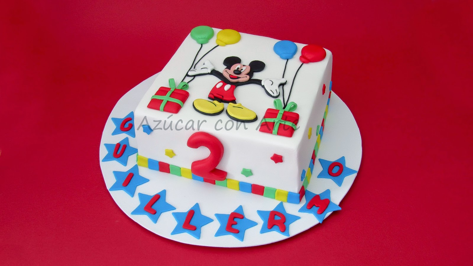 mickey cake 2d, tarta mickey mouse 2d, tarta sin gluten, gluten free cake| azucar con arte