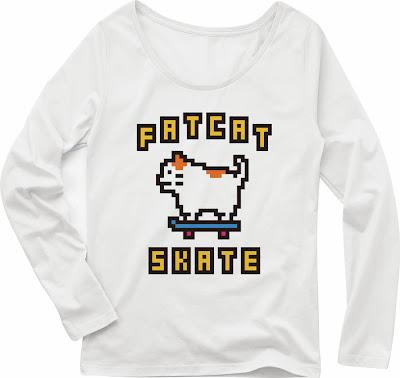 Pixel Party Boy「デブネコスケート」[Girls Boat-neck LongTee] ボートネック・ロングスリーブTシャツ 4.3oz | T-SHIRT COUNCIL