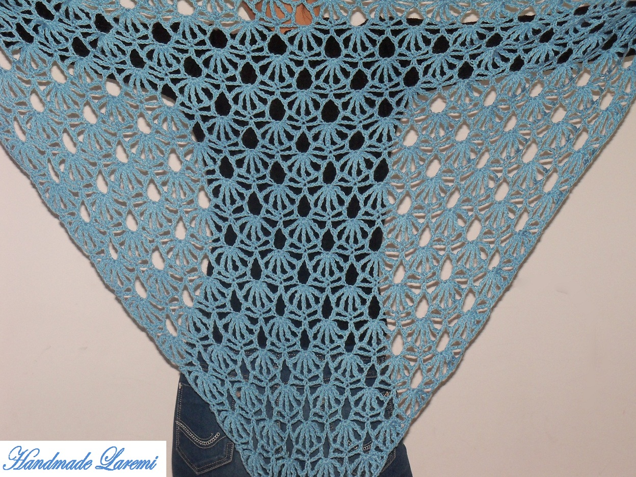 Hand Crochet : ... Hand crochet light blue shawl / Hand Crochet Shawl/ Hand crochet Scarf