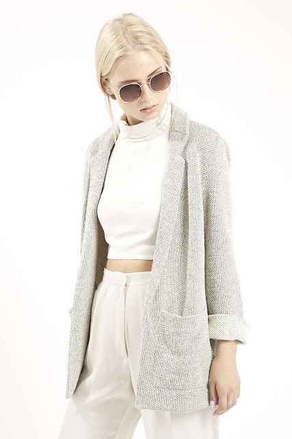 light grey boucle jacket,