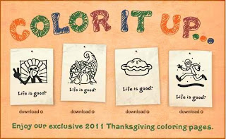 Free Life is Good 2011 Thanksgiving Coloring Pages
