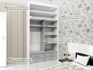 Lemari pakaian minimalis sliding unit plafon