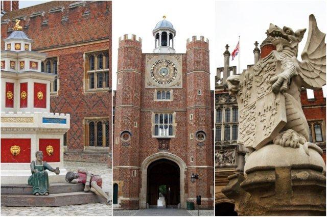 Patio del Reloj y dragon en la entrada del Palacio de Hampton Court, Londres