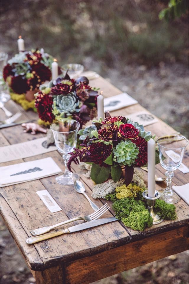 rustic burgundy and green centerpieces