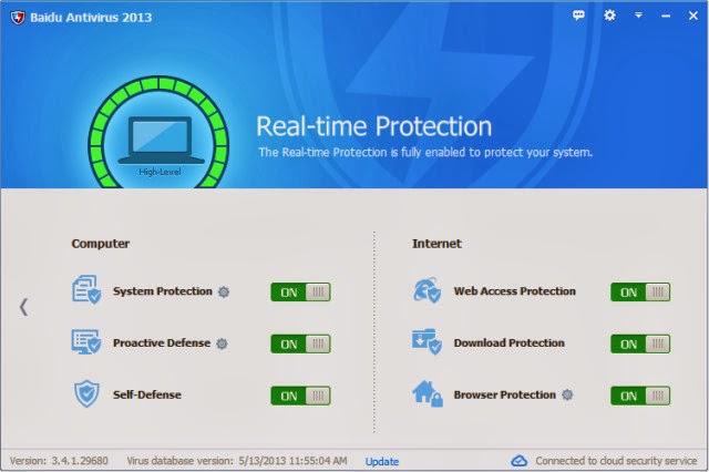 برنامج مجانى فعال للحماية من ومكافحة الفيروسات والبرامج الضارة Baidu Antivirus free 3.4.2