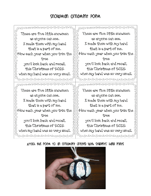 Snowman Handprint Ornament Poem I attach ribbon and this poem: