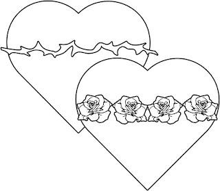 Corazón de Jesús con espinas y rosas para colorear