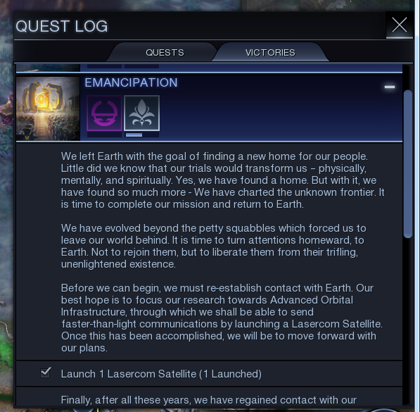 The Quest Log of Civilization: Beyond Earth, displaying the details of the Emancipation Victory Quest.