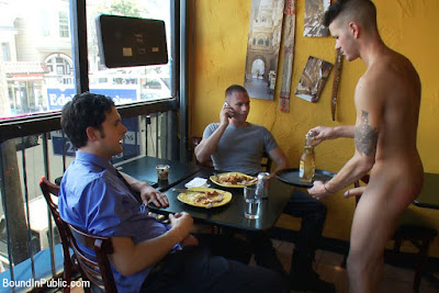 CMNM: nude waiter