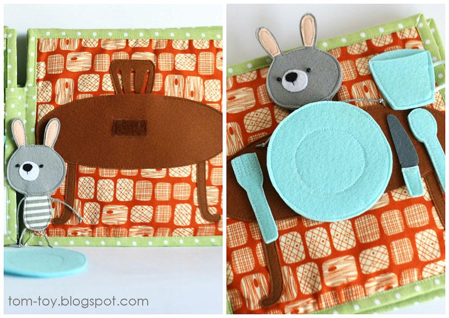 Bunny day quiet busy book for children, pretend play, dining room, развивающая книжка день зайчика, стол, сервировка стола, душ