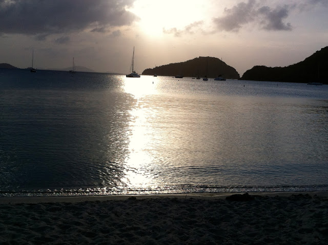 Beautiful Sunset and Moored Boats on the Glassy Water of Francis Bay St John US Virgin Islands