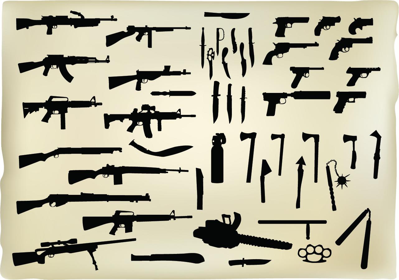 銃や武器のシルエット Weapons Vector Graphics イラスト素材