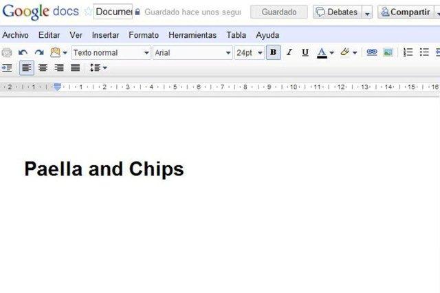 Documento Procesador de texto en Google Docs