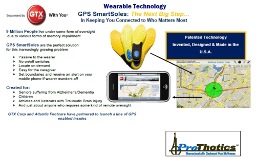 gpssole 500 GTX Corp Signs Exclusive Manufacturing Agreement with Atlantic Footcare to Develop and Launch the Next Big Step in New Wearable Technology   GPS SmartSoles™