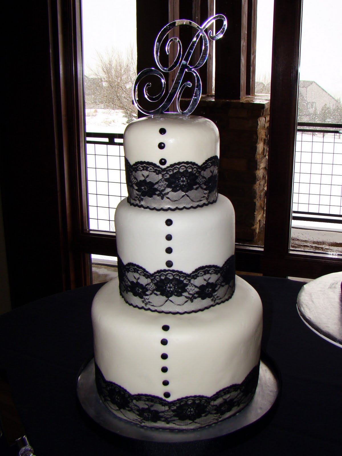 Layers of Love Black Lace wedding cake