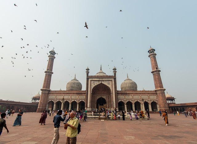Looking at the Jama Masjid mosque with birds flying overhead and people walking the courtyard in Delhi, Rajasthan