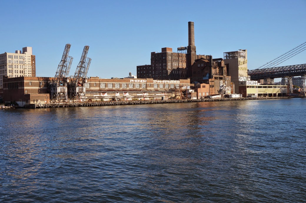 Domino Suger Refinery from the East River toward the Williamsburg Bridge