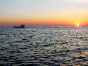SEA DREAM cruising along in the beautiful, and most welcomed,  sunrise on the Gulf of Mexico.