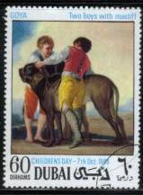 1968年ドバイ フランシスコ・デ・ゴヤ 少年たちとマスティフの切手