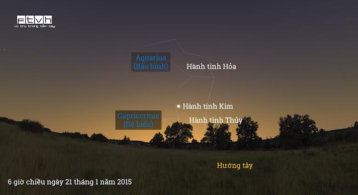 Minh họa bầu trời hướng tây lúc 6 giờ chiều ngày 21 tháng 1 năm 2015.