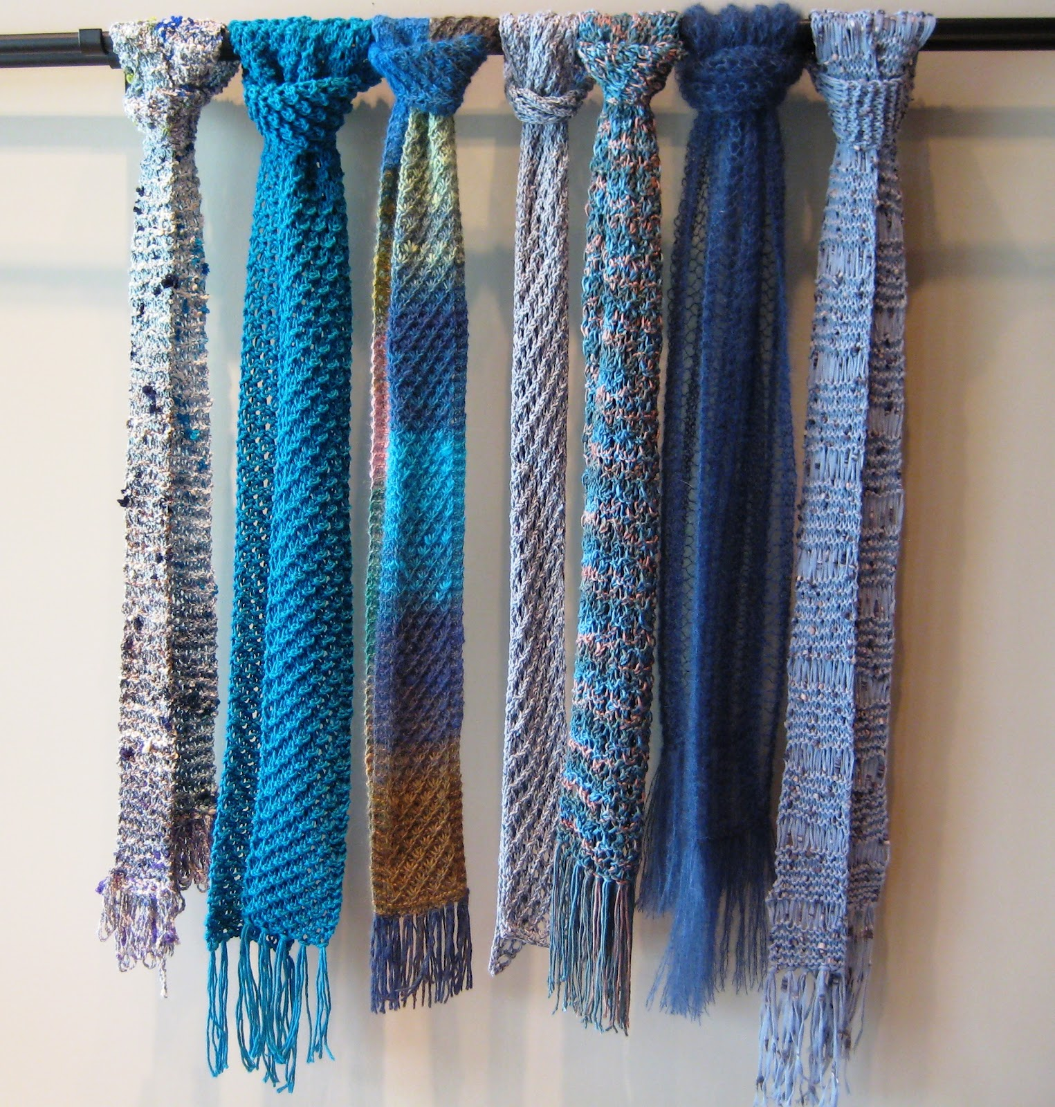 k2tog with nancy wyatt shades of blue summer scarves