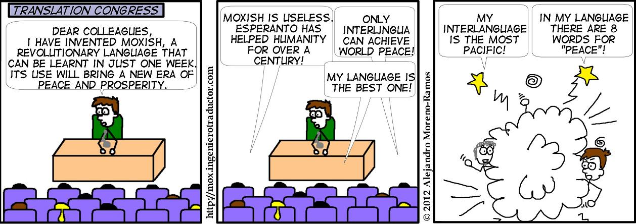 comic strip, presentation of a new language