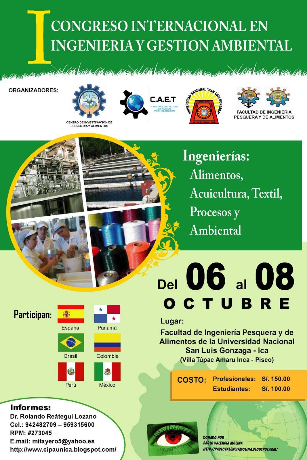 Portada del   I CONGRESO INTERNACIONAL EN INGENIERIA Y GESTION AMBIENTAL, 2011