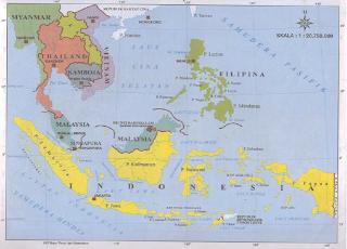 Letak geografis Indonesia pada peta ASEAN (Sumber: Atlas Indonesia dan Dunia, Lintas Media Jombang)
